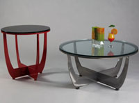 Johnston Bella Cocktail Table: Clear, Black or Red Glass