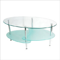 "Walker Edison 38"" Wave Oval Coffee Table"