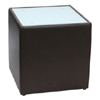 Steel Bonded Leather End Table  with Glass Top - Mocca