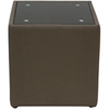 Steel Bonded Leather End Table  with Glass Top - Mink Brown