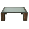 39 Inch Square Cocktail Table with Crackled Glass Top and Stainless Steel Apron