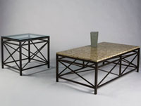 Johnston Campaigne End Table: Clear or Black Glass