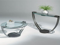 Johnston Opus Round Cocktail Table: Frosted or Clear Glass