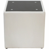 Steel Bonded Leather End Table  with Glass Top - White