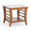 Baxton Studio Allison Honey Brown Wood Modern End Table with Glass Inlay